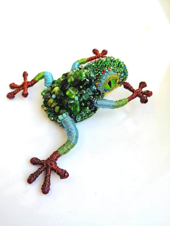 Embroidered brooch Beaded brooch Frog brooch Green frog brooch Rhinestone frog brooch Crystal green toad brooch  Custom order
