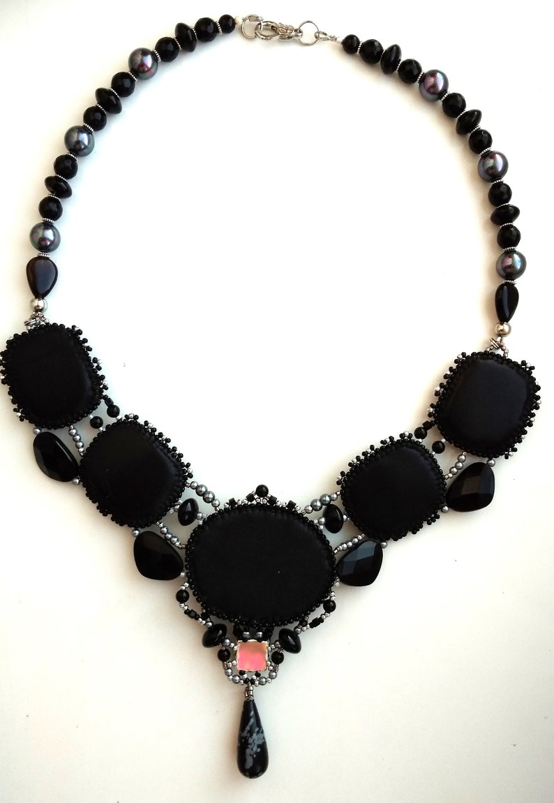 Snow obsidian necklaceAgate necklaceJewelry Beads necklaceblack necklaceBlack and white necklaceembroidered necklace with beads