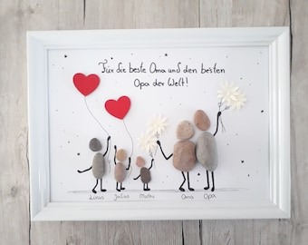 Grandma and Grandpa are the best, grandparents, thank you, stone picture Din A4, gift, freely customizable