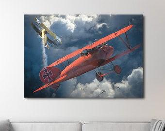 Albatros Dva Red Baron Manfred von Richthofen Empire First World War, poster poster, German Air Force World War One