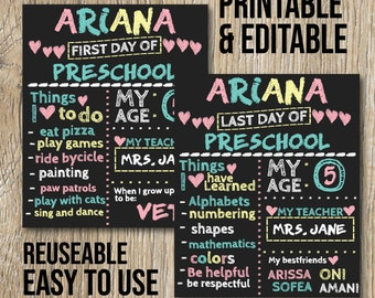 First Day Of School Card Editable Chalkboard Printable Sign High Quality In Png Svg Dxf And Eps Format Instand Download