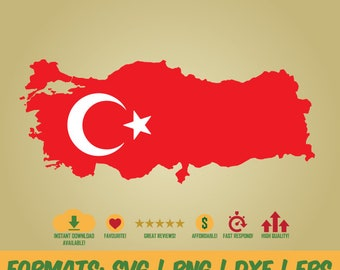 Turkey flag and map high quality in png, svg, dxf and eps format Instand Download