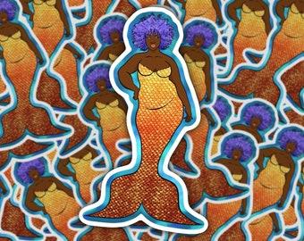"5"" Golden Shine Mermaid Sticker! | Body Positive Mermaid | Mermay Decal | Fantasy Art"