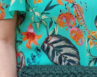 crochet handbag,evening, modern emerald colour, t-shirt
