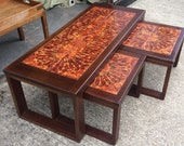 Nest of coffee tables with tiled tops, retro, vintage,mid century.