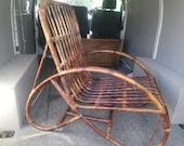Vintage wicker bamboo cane armchair, bohemian, mid century, retro.