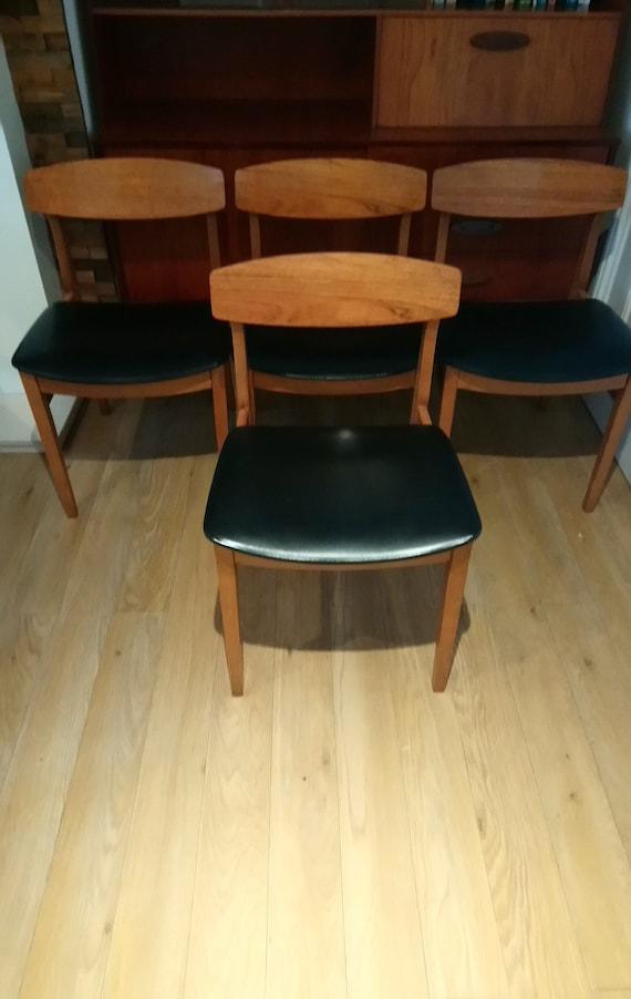 Beautility Teak Dining Set Of Four Chair S Retro Etsy