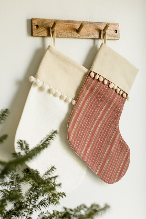 Bas de Noël rouge et vert tendre