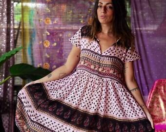 a2e87b5de65264 Vintage Indiase gaas jurk Gypsy Boho katoen Handblock afgedrukt