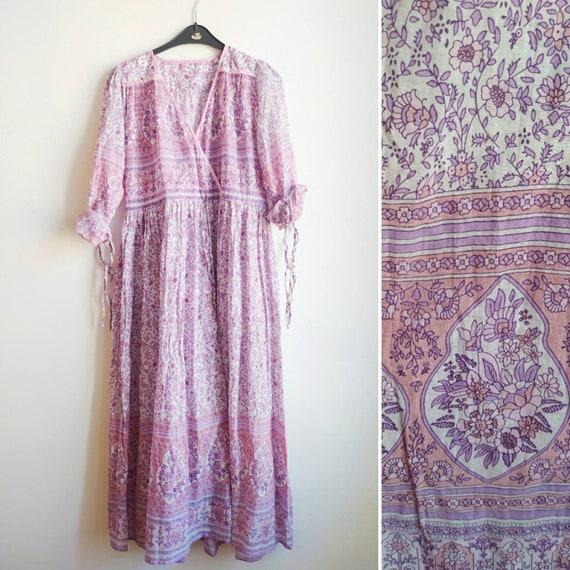 floral Indian light cotton dress //  hand block pr