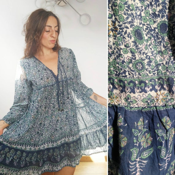 Pure Vintage Indian Gauze mini Dress Gypsy Bohemia