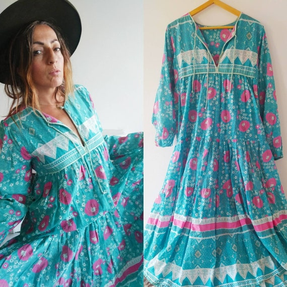 floral Indian maxi  light cotton dress //  hand bl
