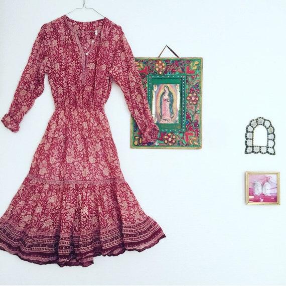 vintage Indian Gauze Dress Gypsy Bohemian Cotton H