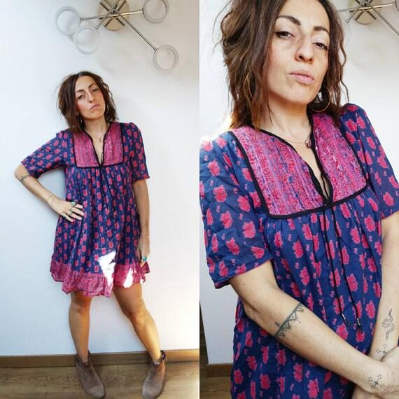 Vintage  Indian Gauze Dress Gypsy Bohemian Cotton