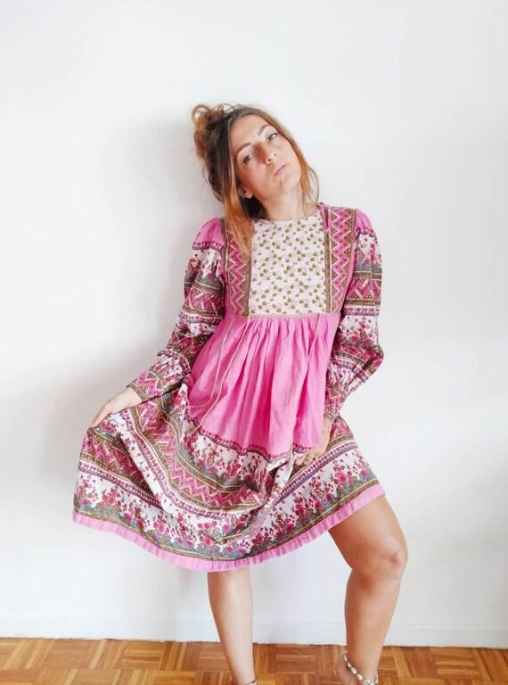 Vintage 70s indian hand block printed cotton dress