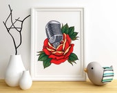 Traditional Tattoo Flash Print - Rose Microphone Music Art - Vintage Design Old School Painting Illustration Sailor Jerry Style Retro