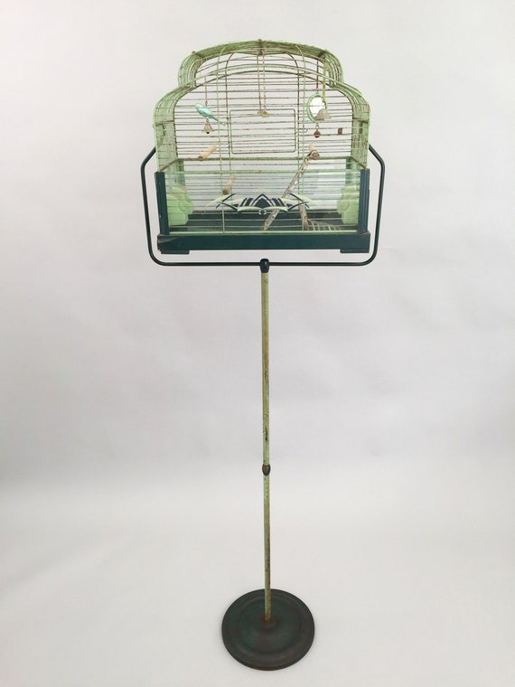 Rare 1930s bird cage and stand by Genykage Art Deco vintage antique with  original accessories