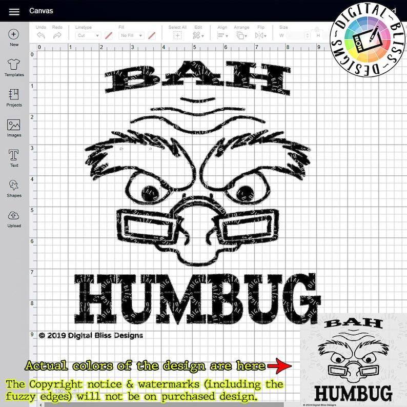SVG Bah Humbug Christmas Original Artwork Scrooge image 0