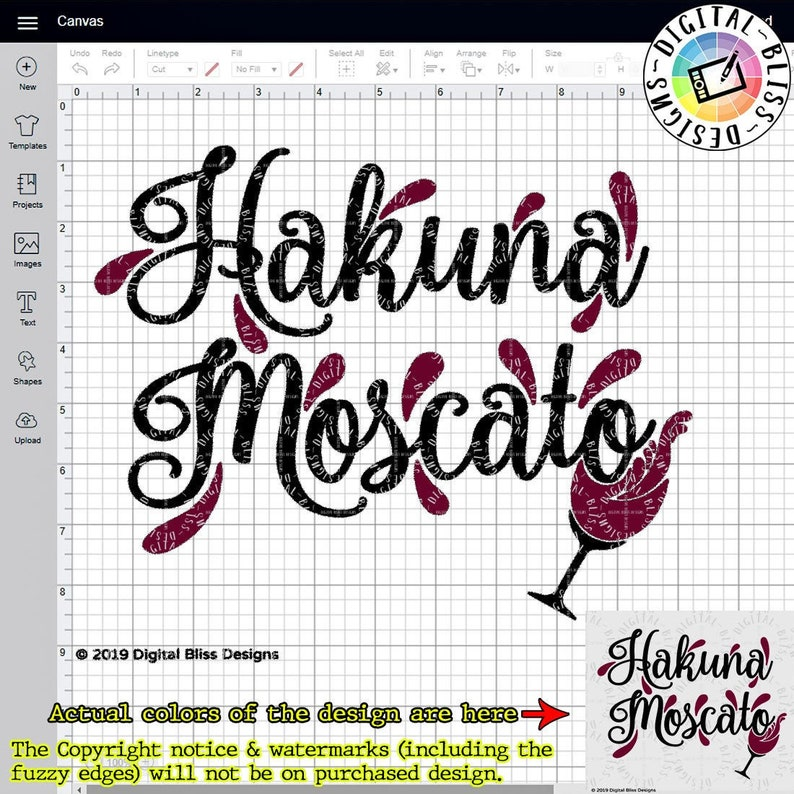 SVG Hakuna Moscato Wine Cut File Clip Art Line Art image 0