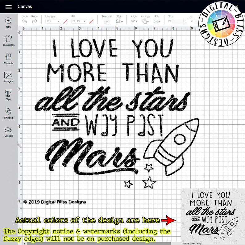 SVG I Love You More Than All the Stars and Way Past Mars image 0