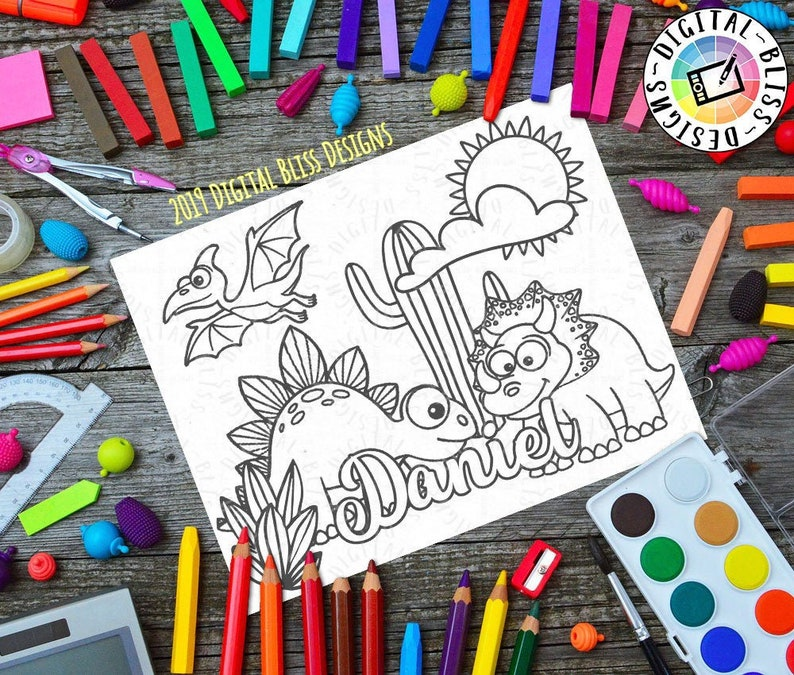 Printable Coloring Page Desert Dinosaurs Custom Name image 0