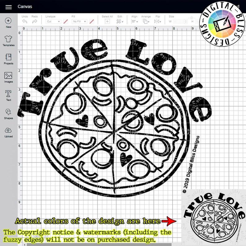 True Love Pizza Love SVG DXF PNG Cut File Clip Art Line image 0