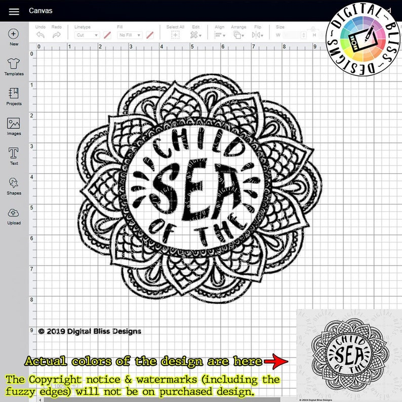 SVG Child of the Sea Cut File Clip Art Line Art Template image 0