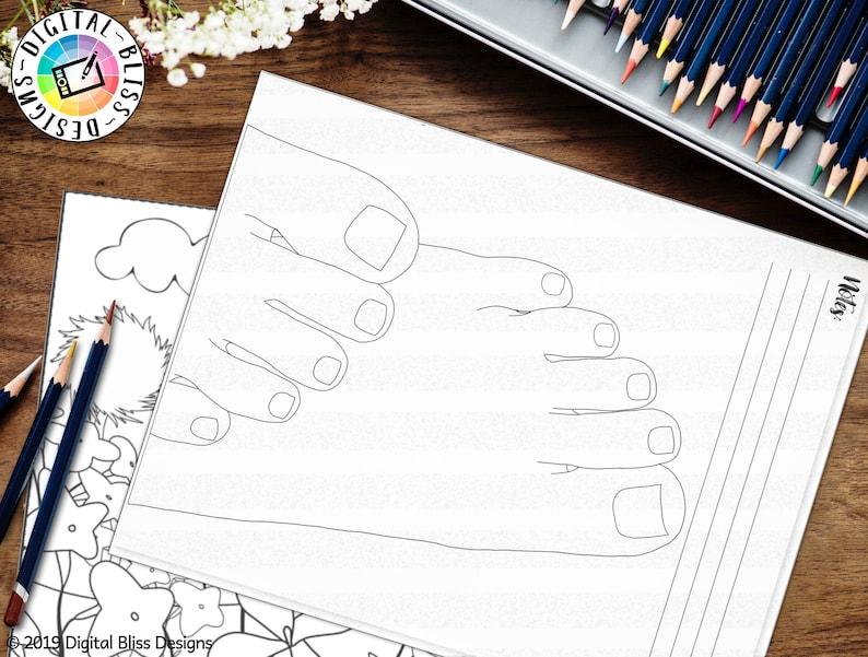 Printable Coloring Page Nail Art Design Practice Worksheet image 0