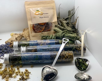 Tea Gift Set, Homegrown, Homemade Tea Blends, Tea Set for Tea Lovers, Tea Box - The Meditative Gardener