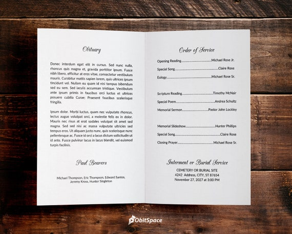 Funeral Program Template | Celebration of Life Obituary Memorial or Tribute  Service | Father/Mother | MS Word |ObitSpace - Simple Minimal