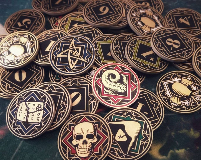 Arkham Horror Chaos Tokens - Full Core Pack. Fan Made Fiberglass and Gold Plated Tokens. [Pre-orders available]
