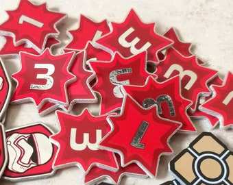 8 x Transformers and Star Wars Destiny Compatible Damage tokens, dual sided 1 and 3