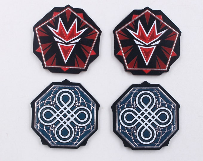 KeyForge Worlds Collide Compatible Ward and Enrage Tokens, Fan-Made