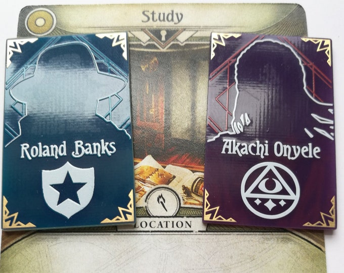 Arkham Horror Investigator Mini-Portraits, Fan Made. Roland and Akachi