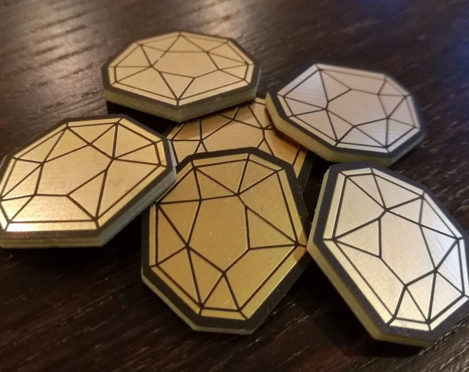 6 x KeyForge Compatible AEmber tokens. Gold plated Æmber supplement [Wave 2]