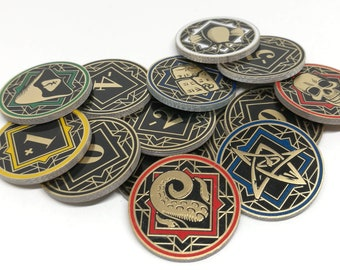 Arkham Horror Chaos Tokens - Full Core Pack. Fan Made Fiberglass and Gold Plated Tokens.