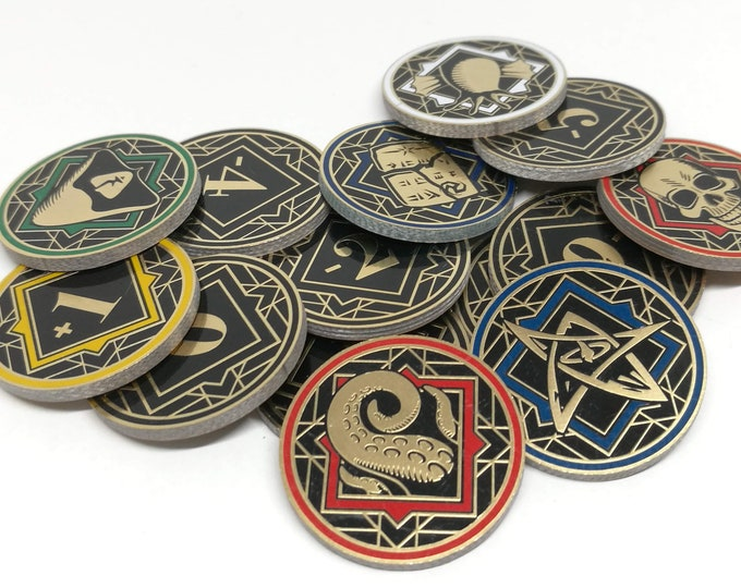 Fan-Made Chaos Tokens Compatible with Arkham Horror- Full Core Pack. Fiberglass and Gold Plated