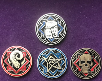 Premium Arkham Horror Chaos Tokens - Full Core Pack. Fan Made Fiberglass and Gold Plated Tokens.