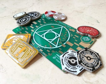 Netrunner Premium PCB Tokens, Fan Made Full Core Set (+Free Mopus Wallet if purchased on Aurbits - Limited Quantity) [Back-Order]