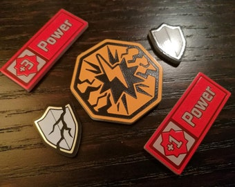 KeyForge Set of Stun, Armor, and Power tokens, Fan Made.