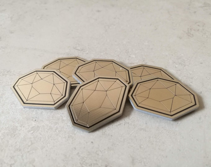 6 x KeyForge Compatible AEmber tokens. Gold plated Æmber supplement
