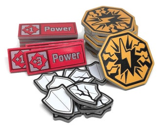 Set of Stun, Armor, and Power tokens, Fan-Made Compatible with KeyForge.