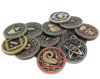 Fan-Made Chaos Tokens Compatible with Arkham Horror- Full Core Pack. Fiberglass and Gold Plated.