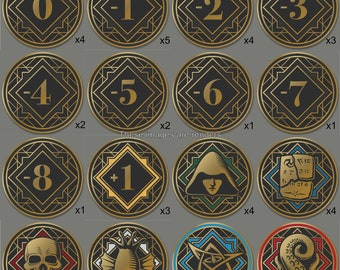 Premium Arkham Horror Chaos Tokens - Full Core Pack. Fan Made Fiberglass and Gold Plated Tokens. [Pre-Order]