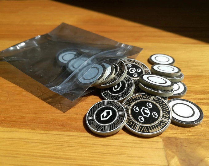 Credit/Advance Set. Netrunner Compatible Fan-Made (Cyberpunk/Techy/Sci-Fi Currency Tokens)