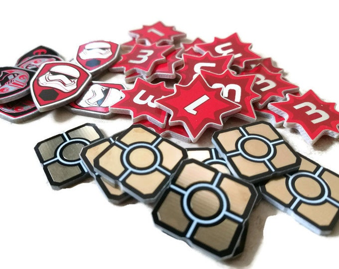 Full Token Set, Shields, Resources, and Damage. Fan-Made Tokens Compatible with Star Wars Destiny.