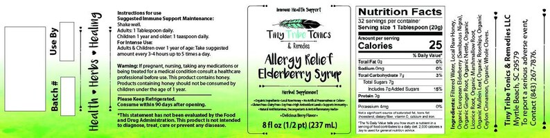 Allergy Relief Elderberry Syrup  Seasonal Allergies/Pet Allergies/Black  Mold  Organic Natural Cold & Flu Remedy