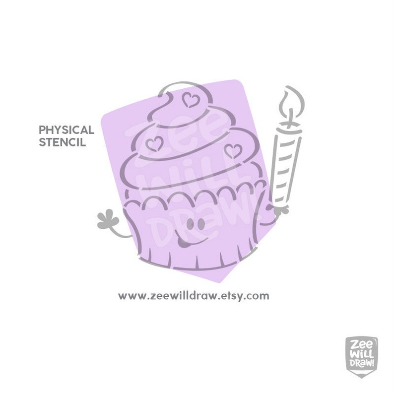 Birthday Physical stencil Birthday Cupcake PYO Stencil