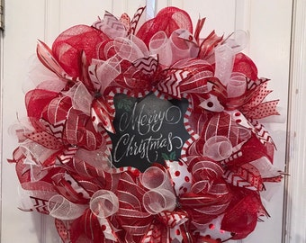 how to make a christmas wreath with deco mesh ribbon