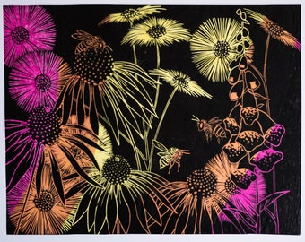 lino print flowers and beesflowers and bees 2